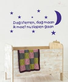 """Sticker """"Dag sterren dag maan""""  75x40cm of 100x50cm"""