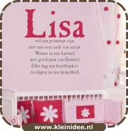 """Sticker """"Prinsesje + naam"""" 2 kleuren 75cm hoog"""