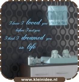 "Sticker ""I knew I loved you....."" 100x58cm"