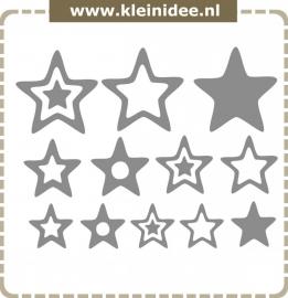 Stickerset 12 sterren variërend van 10 naar 20cm
