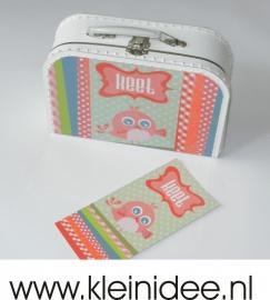 Koffertje n.a.v. geboortekaartje of foto