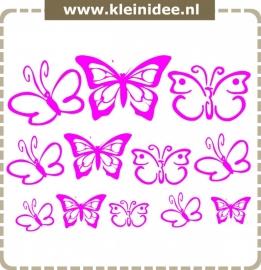 Stickerset 12 vlinders variërend van 5 naar 20cm
