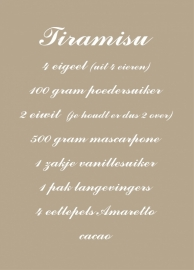 Tiramisu receptsticker 60cm breed X 80cm hoog