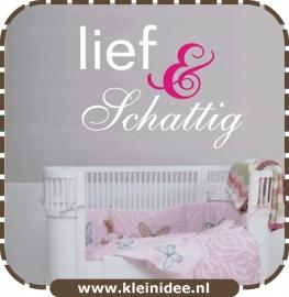 """Sticker """"Lief & Schattig"""" 2 kleuren 80x60cm"""
