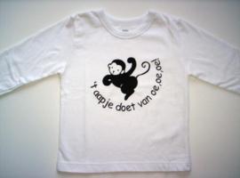 T-shirtje wit  het aapje doet (bruine flex) mt 86/92