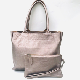 Shopper M metallic brons leer met bag in bag