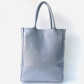 Shopper zilver metallic leer