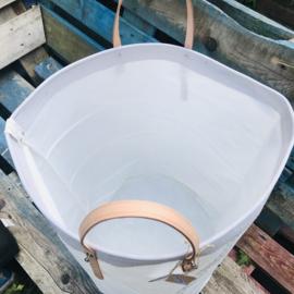 Tas - boodschappen -was-mand met leren handvatten L