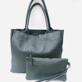 Shopper M donkergroen leer met bag in bag
