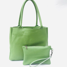 Shopper M appeltjes groen leer met bag in bag
