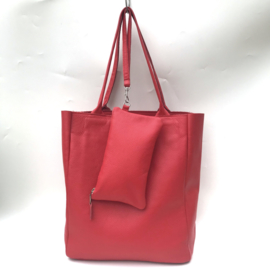 Shopper ROOD leer met bag in bag