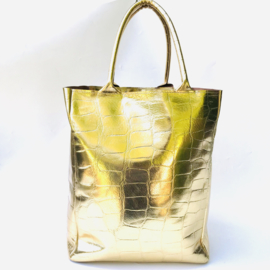 Shopper goud leer