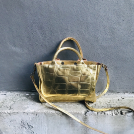 Mini Shopper / handtas goud  leer