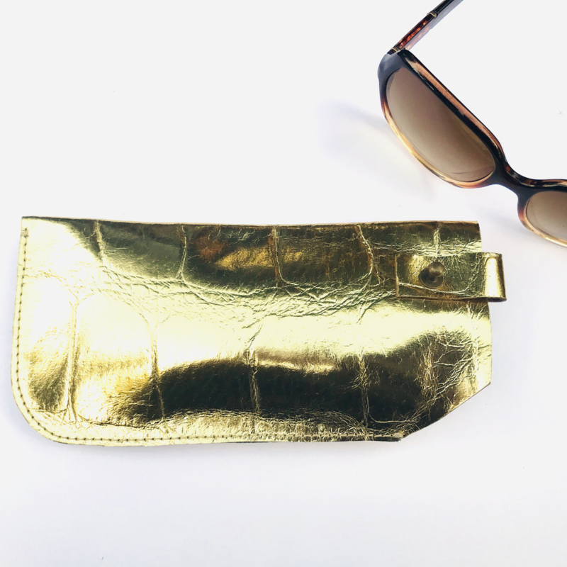 Brillen etui goud leer
