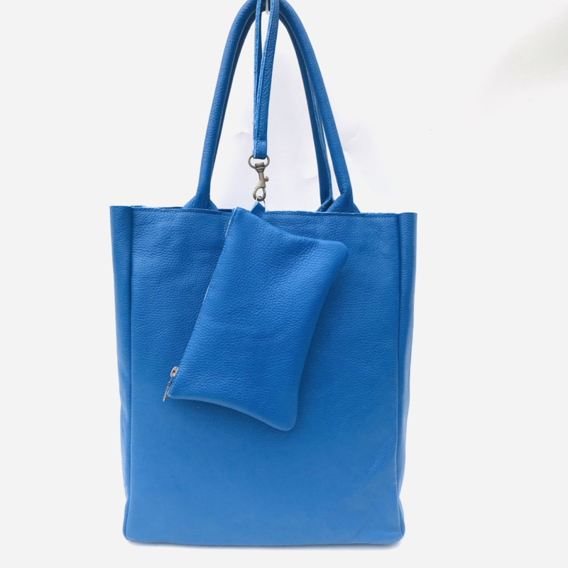 Shopper kobalt blauw leer met bag in bag