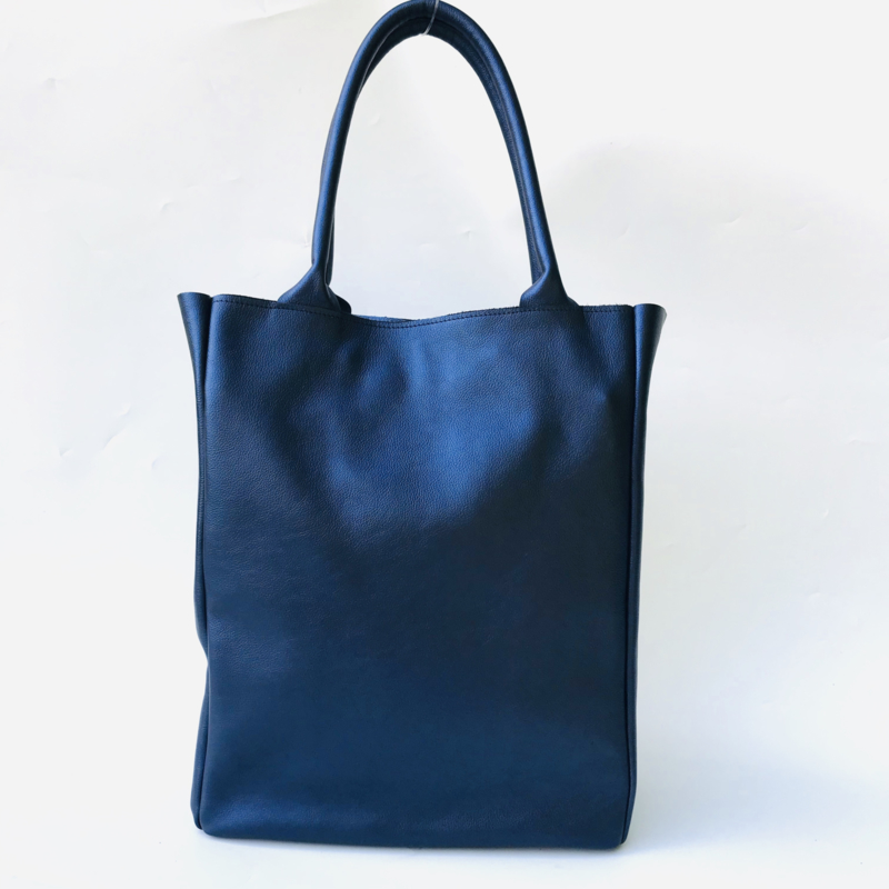 Shopper blauw metallic leer