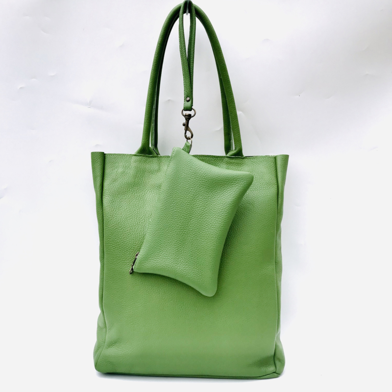 Shopper appeltjes groen leer met bag in bag