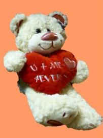 Creme beer met hart ± 40cm