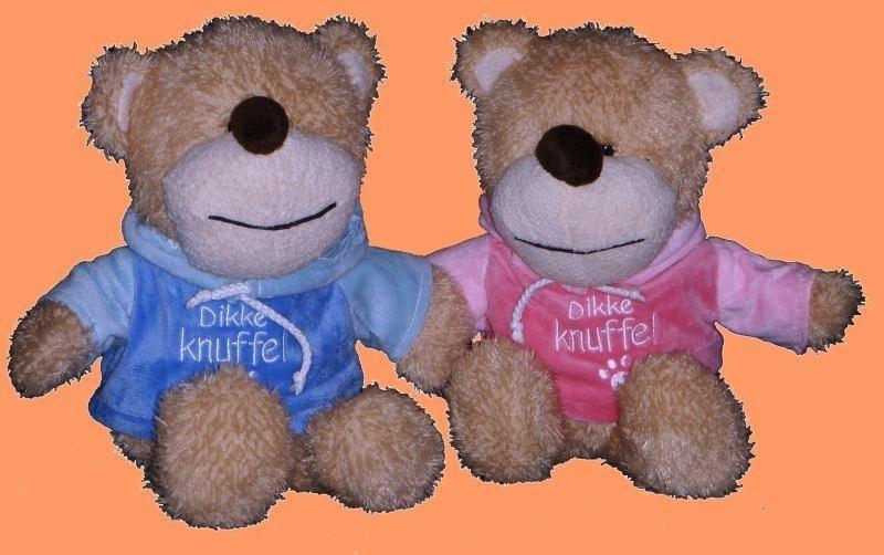 "Hondje met ""Dikke Knuffel"" shirt aan ± 25cm."