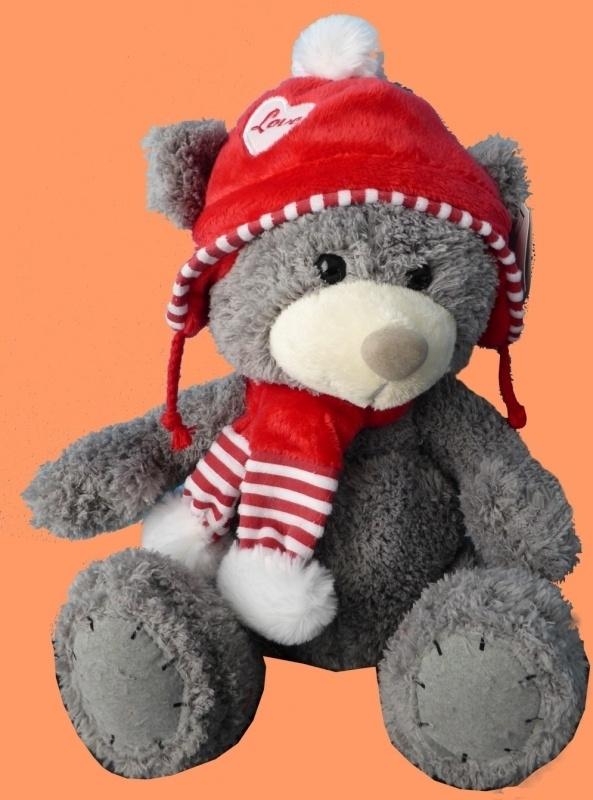 Grijze beer met mutsje en sjaaltje ± 25cm.