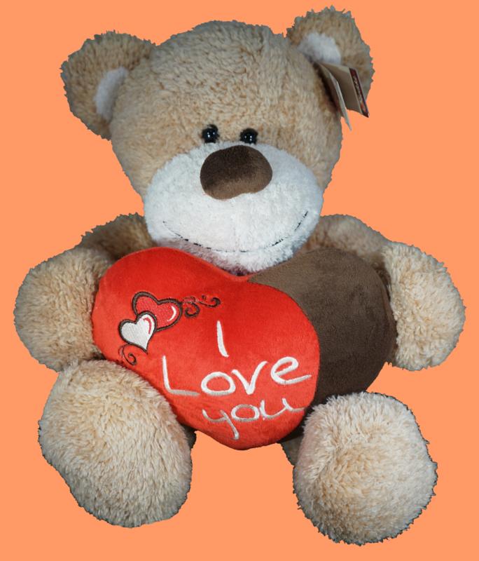 Creme beer met rood/bruin hart I LOVE YOU ± 45cm