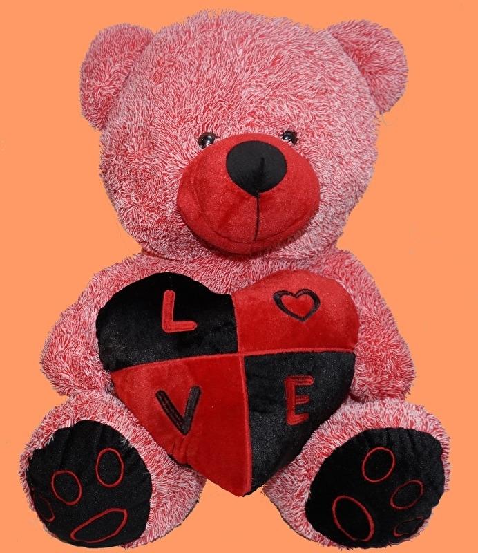 Rossige LOVE beer met hart ± 60 cm.