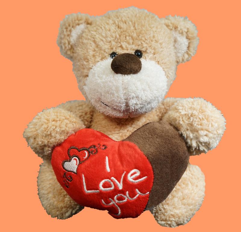 Creme beer met rood/bruin hart I LOVE YOU ± 25cm