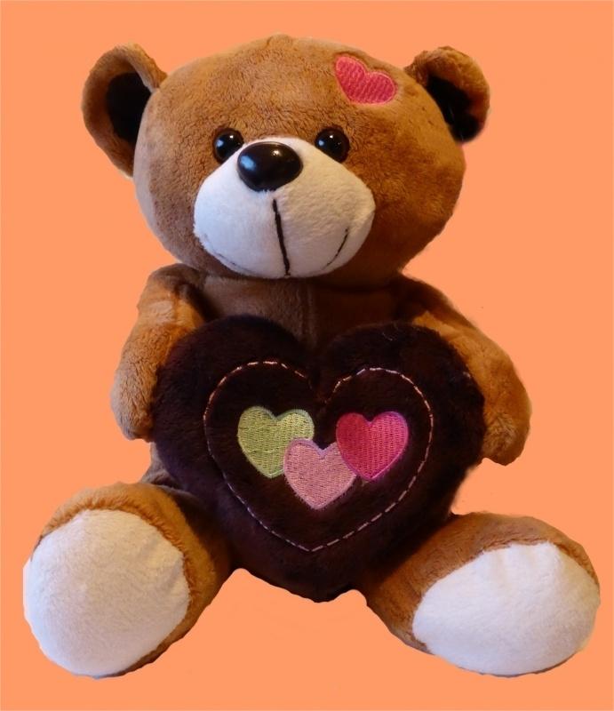 Bruine beer met bruin hart ± 23 cm