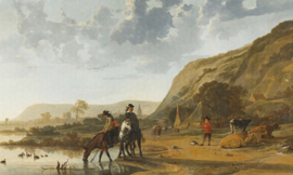 Dutch Wallcoverings Painted Memories Mural River Landscape with Horseman 8028