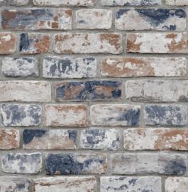 Noordwand Kids@Home Inidvidual behang Disteressed Brick Navy Red 108596