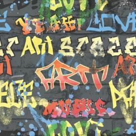 Noordwand Kids@Home Inidvidual behang Graffit Black 103032