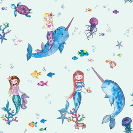Dutch Over the Rainbow behang Narwhals and Mermaid 91011