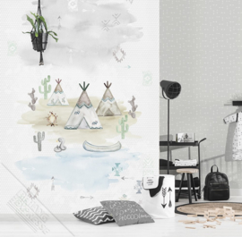 Behangexpresse Kay & Liv Wallprint Tipi Time Grey INK 7036