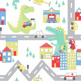 Dutch Over the Rainbow behang Dino Road 90910
