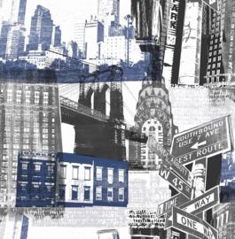 Noordwand Kids@Home Inidvidual behang Fresco New York Blue/Black 104631
