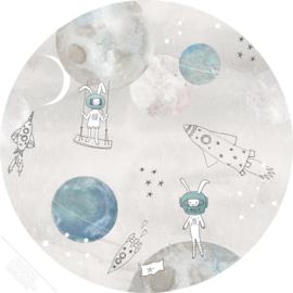 Behangexpresse Sofie & Junar behangcirkel Too the Moooon Grey INK7708 Ø 75CM
