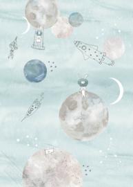 Behangexpresse Sofie & Junar Wallprint Too the Moooon Blue INK7631