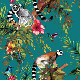 Dutch Imaginarium behang Lemur Teal/Multi 12402