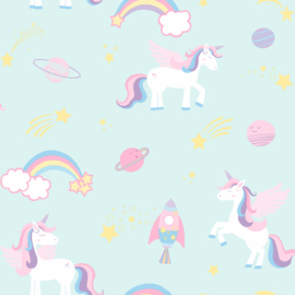 Dutch Over the Rainbow behang Unicorns, rockets and rainbows 90962