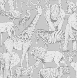Noordwand Kids@Home Inidvidual behang Jungle Animal Grey 108567