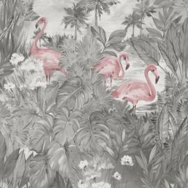 Dutch First Class Amazonia behang Sarasota Grey Pink 91261
