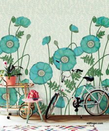 Eijffinger Rice 2 Wallpower 383610 Poppies Turquoise