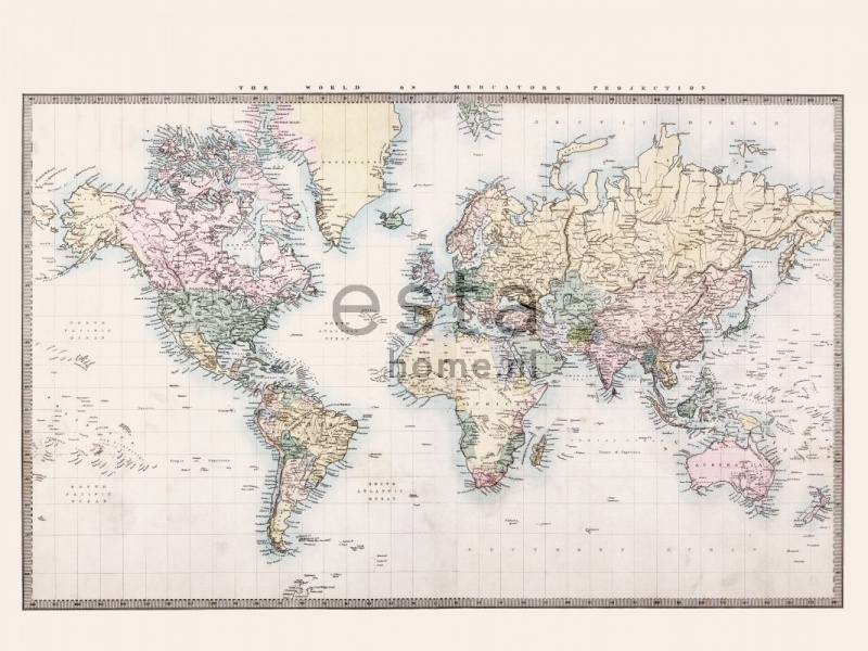 Esta Home Vintage Rules! PhotowallXL Wereldkaart multi 158210