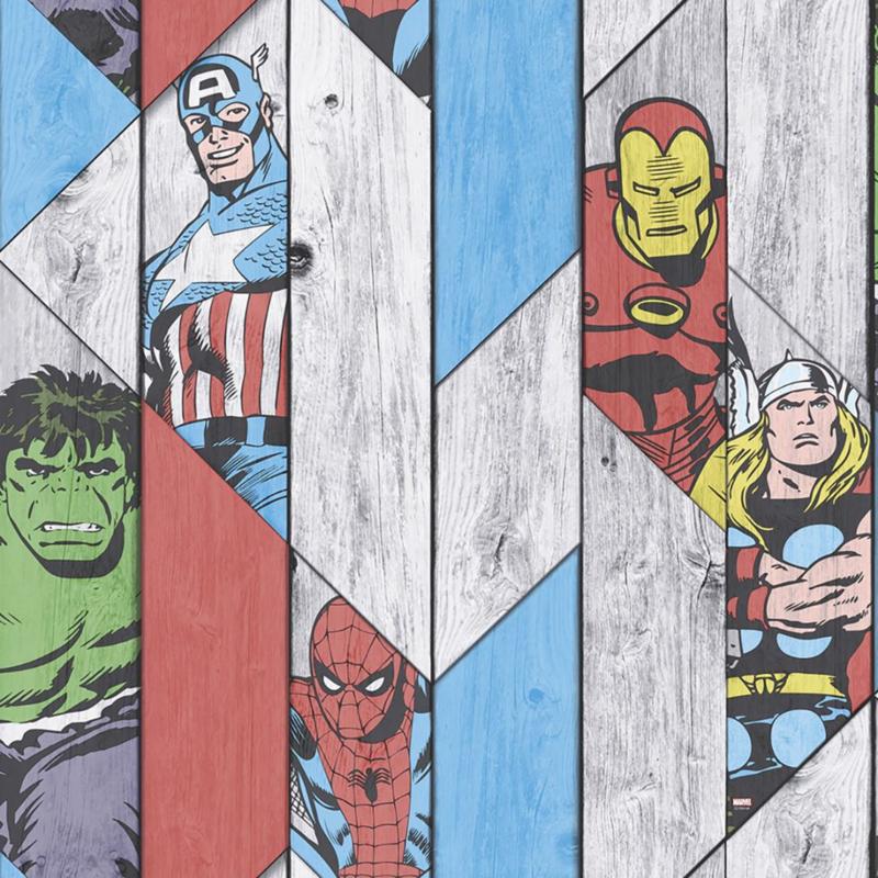 Noordwand Kids@Home Inidvidual behang Marvel Wood Panel 102435