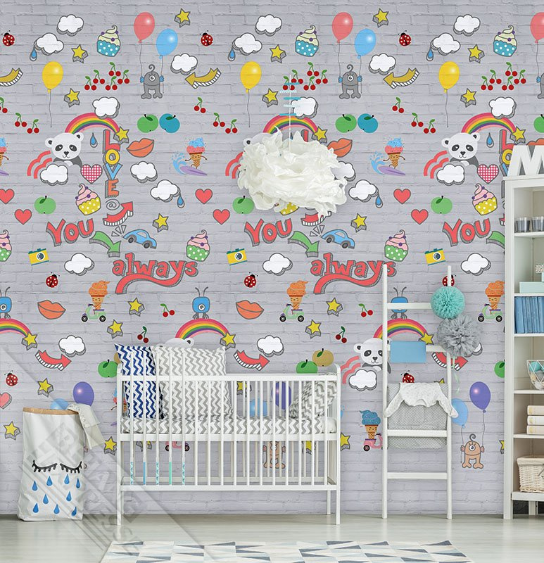 Behangexpresse Abby & Bryan Wallprint Graffiti Baby Grey INK 7230