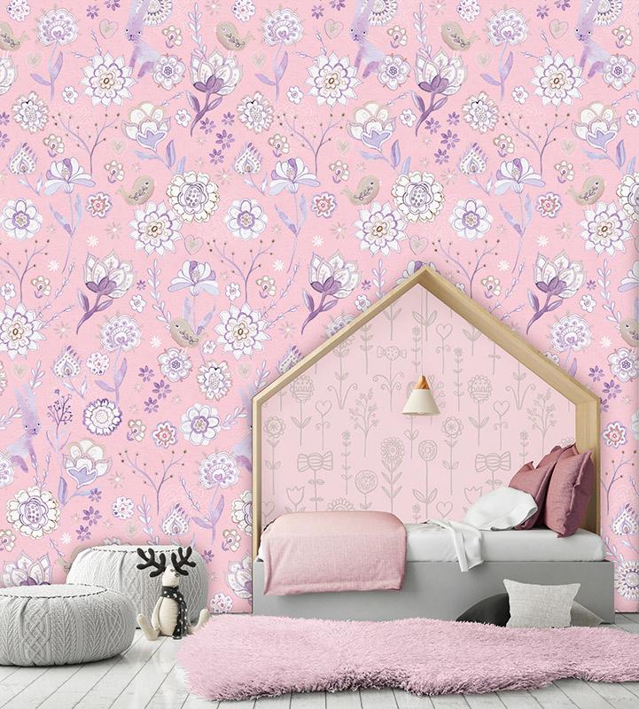 Behangexpresse Morris & Mila Wallprint Secret Garden Pink INK 7275