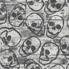 Noordwand Kids@Home Inidvidual behang Skull Wall Grey 108595