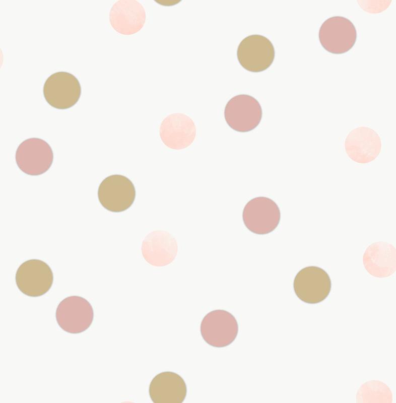 Noordwand Kids@Home Inidvidual behang Dotty Polka Pink American Gold 108565
