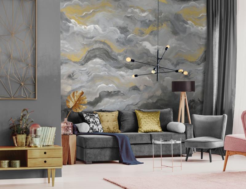 Dutch First Class Amazonia Mural Sierra Charcoal Gold 99347