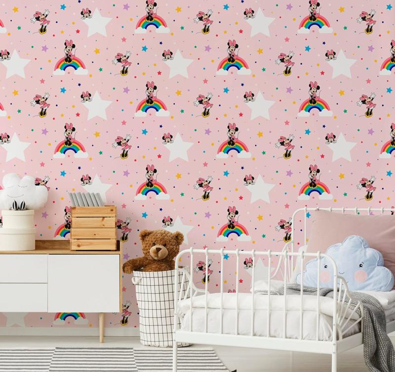Noordwand Kids@Home Inidvidual behang Rainbow Minnie 108592